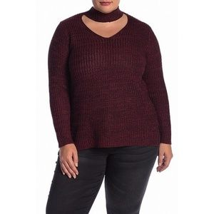 Planet Gold Red Choker V-Neck Sweater NWT 1X